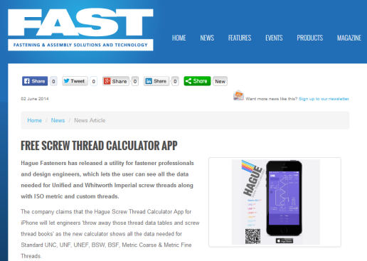 Fastener iPhone App Archives - Hague Fasteners Limited