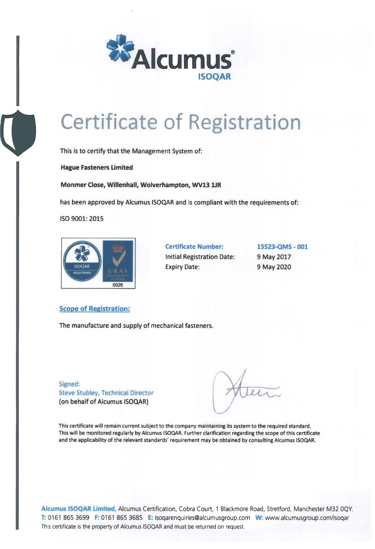 Hague Fasteners ISO9001:2015